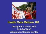 Health Care Reform 101 - Abramson Cancer Center