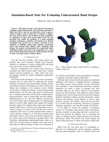 Simulation-Based Tools for Evaluating Underactuated Hand Designs