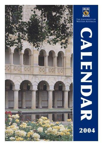 Acrobat PDF - Calendar - The University of Western Australia