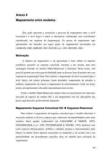 Anexo II Mapeamento entre modelos - IFBA