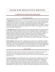 GUIDE FOR REFLECTIVE WRITING - Ideal.forestry.ubc.ca
