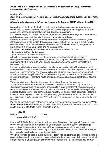 AGR - VET 13 - Impiego del sale nella conservazione degli alimenti