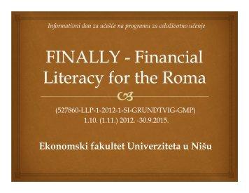 Primer odobrenog projekta – Finansijska pismenost Roma - Tempus