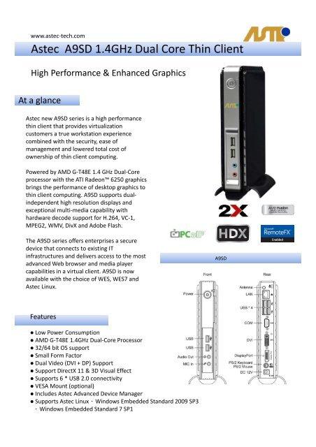 Astec A9SD 1 4GHz Dual Core Thin Client - Astec-tech com