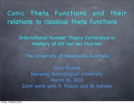 Conic Theta Functions and their relations to classical theta functions