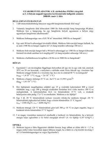 II. Zh ajánlott feladatok