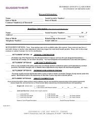Annuity and Variable Life Insurance Death Benefits Claim Form