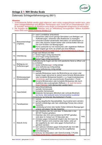 Anlage 2.1: NIH Stroke Scale Datensatz ... - GeQiK