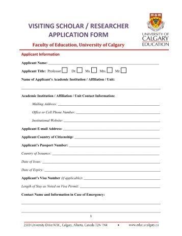 Visiting Faculty / Visiting Scholar Application Form