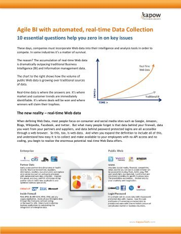 Agile BI with automated, real-time Data Collection 10 essential ...