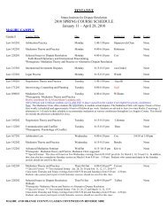 2010 SPRING COURSE SCHEDULE January 11 – April 28, 2010