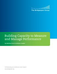 Building Capacity to Measure and Manage Performance