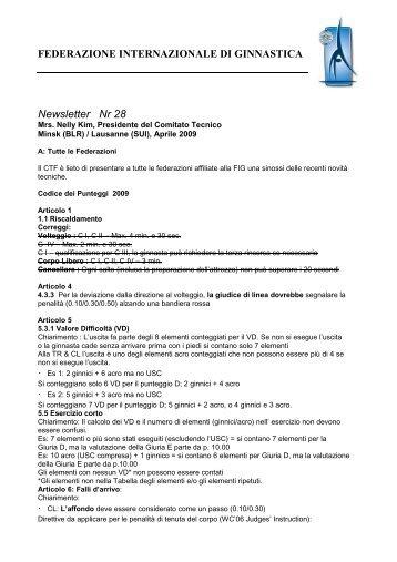 FEDERAZIONE INTERNAZIONALE DI GINNASTICA Newsletter Nr 28