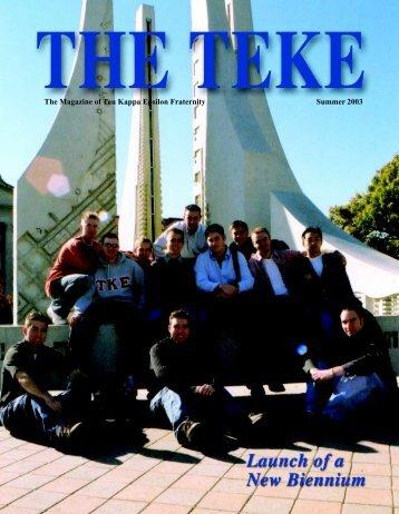 The Magazine of Tau Kappa Epsilon Fraternity Summer 2003
