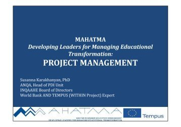 Financial and technical Management of the project - Tempus
