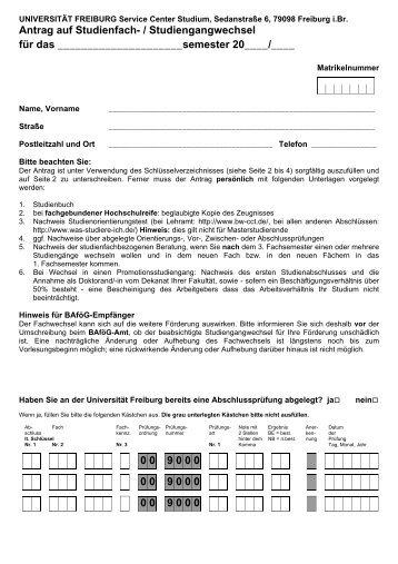 Antragsformular Studienfach-/Studiengangwechsel