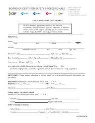 OHST Candidate Handbook - Board of Certified Safety