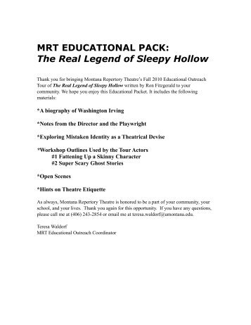 MRT EDUCATIONAL PACK - Montana Repertory Theatre
