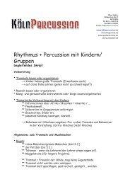Rhythmus + Percussion mit Kindern/ Gruppen - Kölnpercussion