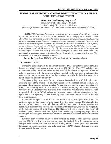 sensorless speed estimation of induction motor in a direct torque ...