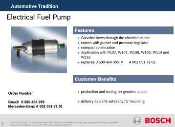 Electrical Fuel Pump - Bosch Automotive Tradition