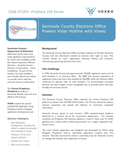 Seminole County Elections Office Powers Voter Hotline with