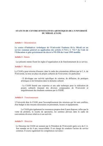 Statuts CIAM - Blogs UTM - Université Toulouse II-Le Mirail