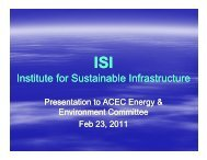 Update: Institute for Sustainable Infrastructure - American Council of ...
