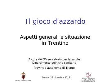 Il gioco d'azzardo - Trentino Salute
