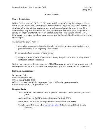 Intermediate Latin 201 (Ovid) Syllabus (2012)