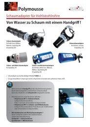 Schaumadapter für Hohlstrahlrohre Polymousse - Leader GmbH