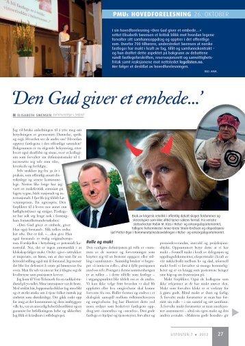 'Den Gud giver et embede…' PMUs hovedforelesning av ... - Utposten