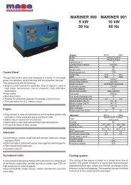 MARINER 900 9 kW 50 Hz MARINER 901 10 kW 60 Hz - Yanmar