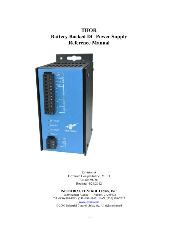 THOR Battery Backed DC Power Supply Reference Manual