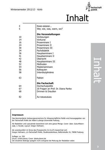 BA Angewandte Politikwissenschaft - FS Politik der Uni Freiburg