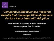 Comparative Effectiveness Research: Methods - AcademyHealth