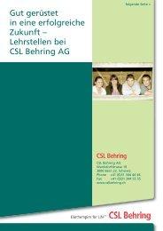 Broschüre - CSL Behring