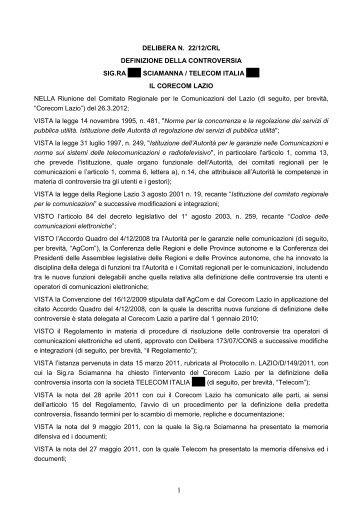 Delibera 22/12/CRL - Corecom