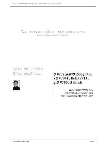 272;ừng làm xạ thủ - La Revue des Ressources