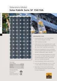 Solarstrom-Modul Solar-Fabrik Serie SF 150/10A - System Sonne ...