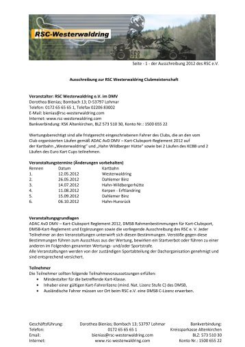 Geschäftsführung: Dorothea Bienias; Bombach 13; 53797 Lohmar ...