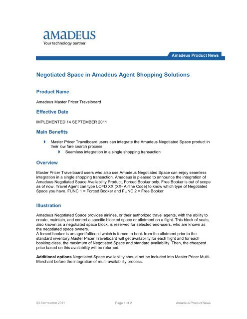 Negotiated space in Amadeus Agent Shopping Solutions pdf