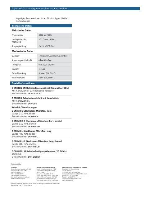 DCN-DCS-xx Delegierteneinheit mit Kanalwähler - Bosch Security ...