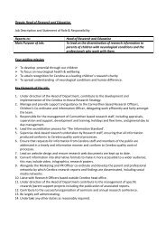 Deputy Head of Research and Education Job Description ... - Cerebra