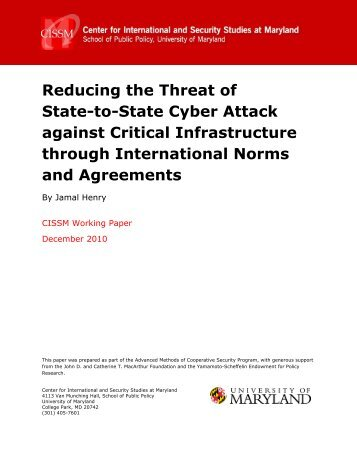 Reducing the Threat of State-to-State Cyber Attack against Critical ...