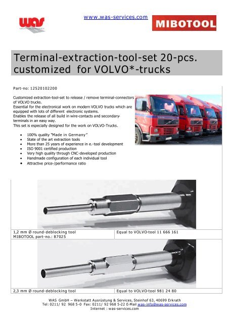 Terminal extraction tool set MIBOTOOL for VOLVO trucks