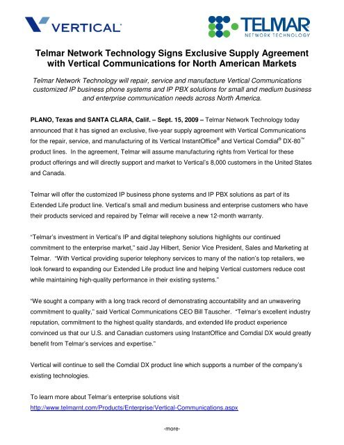 Telmar Network Technology Signs Exclusive Supply Vertical