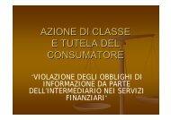 AZIONE DI CLASSE E TUTELA DEL CONSUMATORE