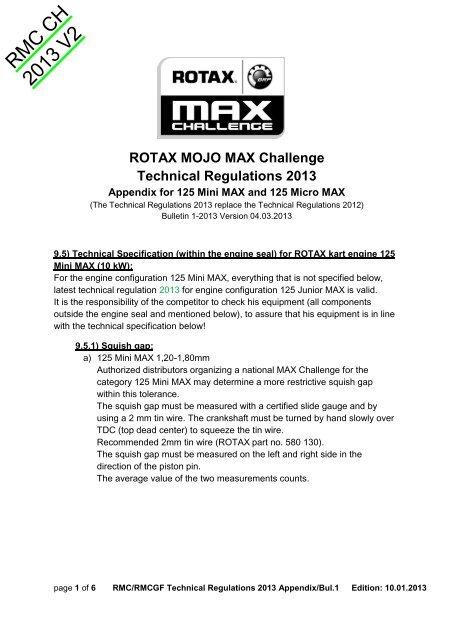 ROTAX MOJO MAX Challenge Technical Regulations 2013