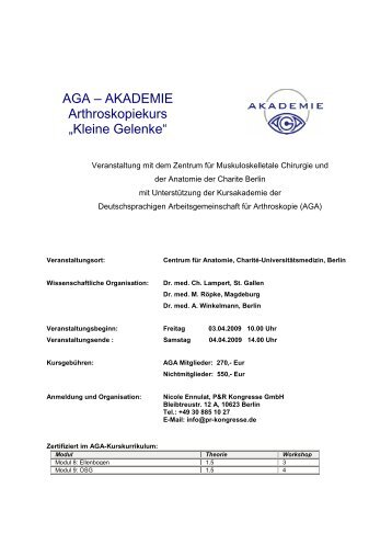 AGA Akademie Kleine Gelenke April 09
